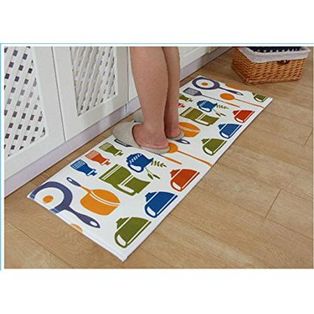 Home Cal Non-slip Microfiber Flannel Mat,Area Rugs Machine-Washable,47''x17''(Kitchen Utensils) (Kitchen Utensil Rugs)