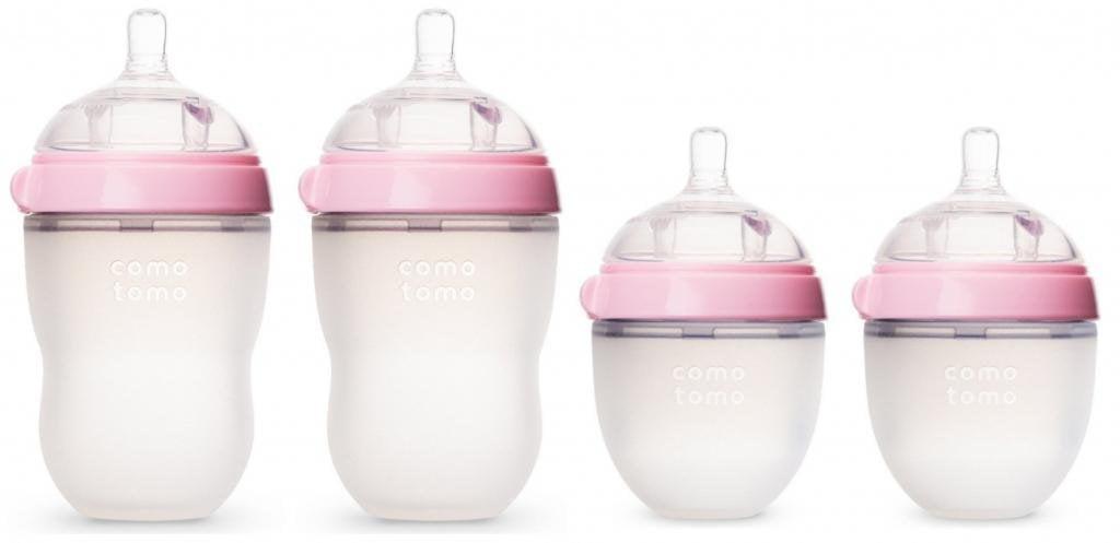 Comotomo 5 oz and 8 oz Baby Bottles, 4 Pack, Pink by Comotomo