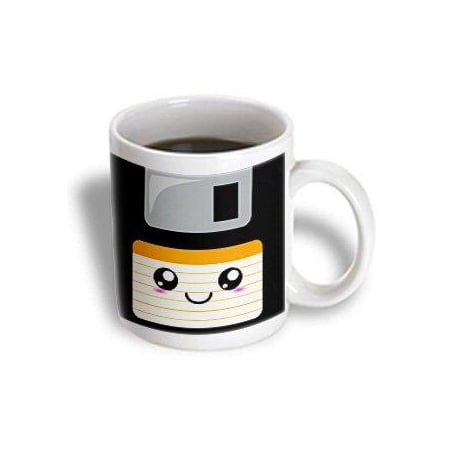 3dRose Kawaii Cute Happy Floppy Disk - Retro computers - Japanese Anime Smiling cartoon with orange label, Ceramic Mug, 11-ounce