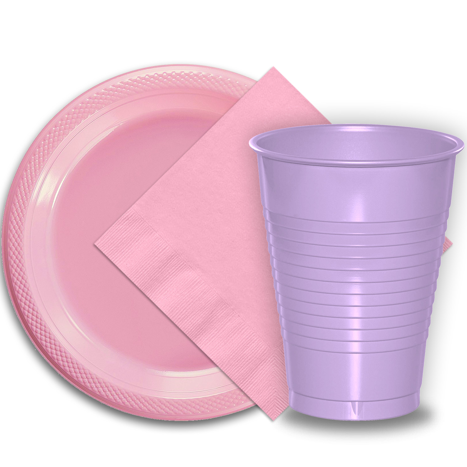 """50 Pink Plastic Plates (9""""), 50 Lavender Plastic Cups (12 oz.), and 50 Pink Paper Napkins, Dazzelling Colored Disposable Party Supplies Tableware Set for Fifty Guests."""