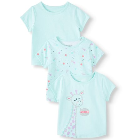 Garanimals Baby Girl Short Sleeve T Shirts, 3 pack