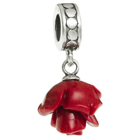 Sterling Silver Simulated Red Coral Rose European Style Dangle Bead Charm Fits - Pewter Rose Charms