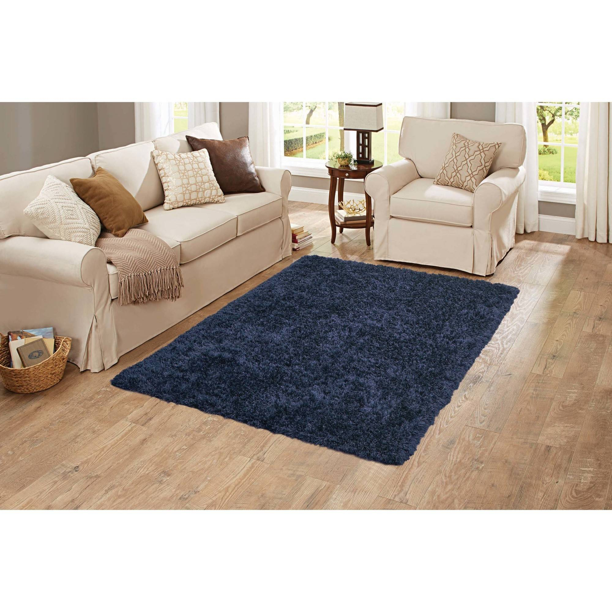 Better Homes and Gardens Shag Accent Rug, Navy by Welspun