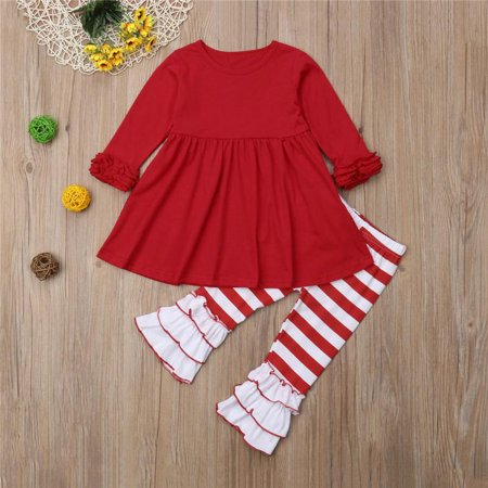 41ce2afce2841 Christmas Toddler Baby Girl Stripe Cotton Top Dress Pants Legging Outfit  Clothes