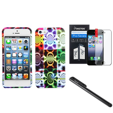 Insten Camo Glow Hard Case Cover For iPhone 5/5s (Bundle with Screen Guard & - Glow Screen