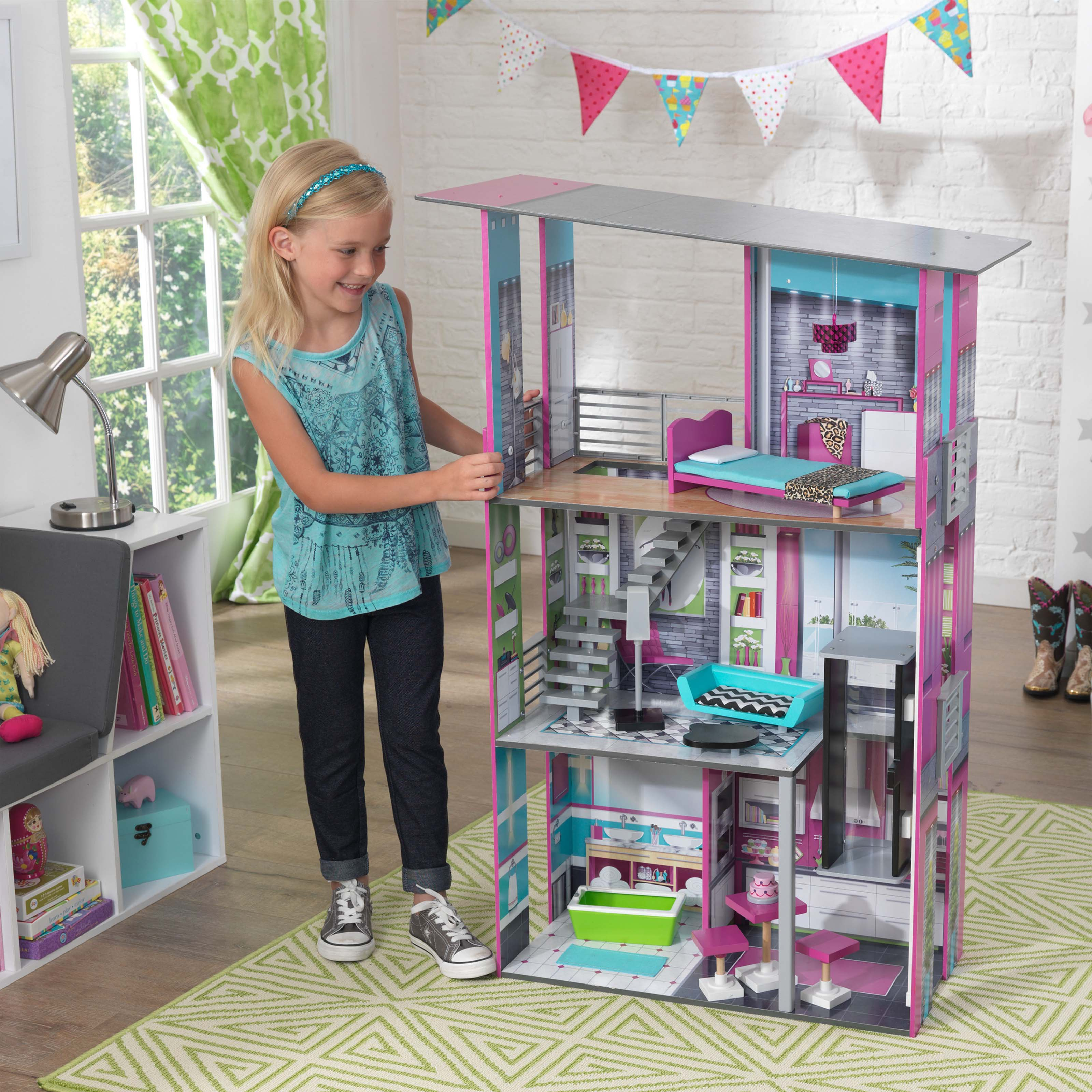 Kidkraft Glamorous Wooden Dollhouse With 14 Pieces Of Furniture