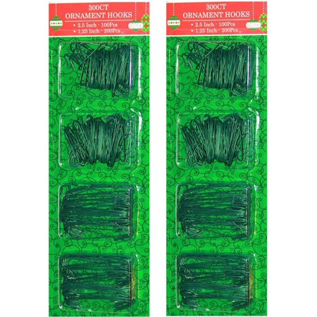 Christmas Ornament Hooks - 2 Lenghs - Green (Pack of 600) - Decorative Ornament Hooks