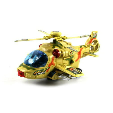 Military Convoy Gunship Battery Operated Bump and Go Toy Helicopter w/ Flashing