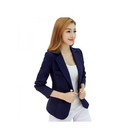 Lavaport Women One Button Slim Casual Business Blazer Suit Jacket Coat Outwear
