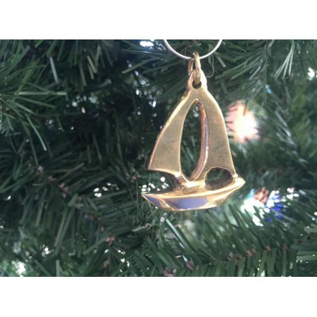 Solid Brass Yacht Christmas Ornament 4