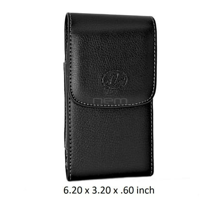 Large Leather Swivel Belt Clip Carrying Vertical Case Holster For Amazon Fire Phone Devices - (Fits With Otterbox Defender, Commuter, LifeProof Cover On It) (Card Case For Amazon Fire Phone)