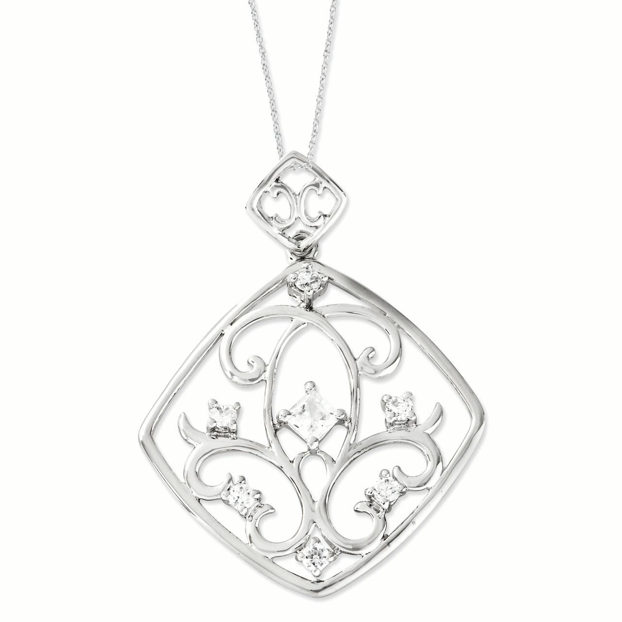 Closeouts Sterling Silver CZ Joy Overflowing 18in Necklac...