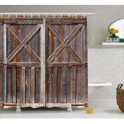 Rustic Shower Curtain Old Wooden Barn Door Of Farmhouse Oak Countryside Village Board Rural Life