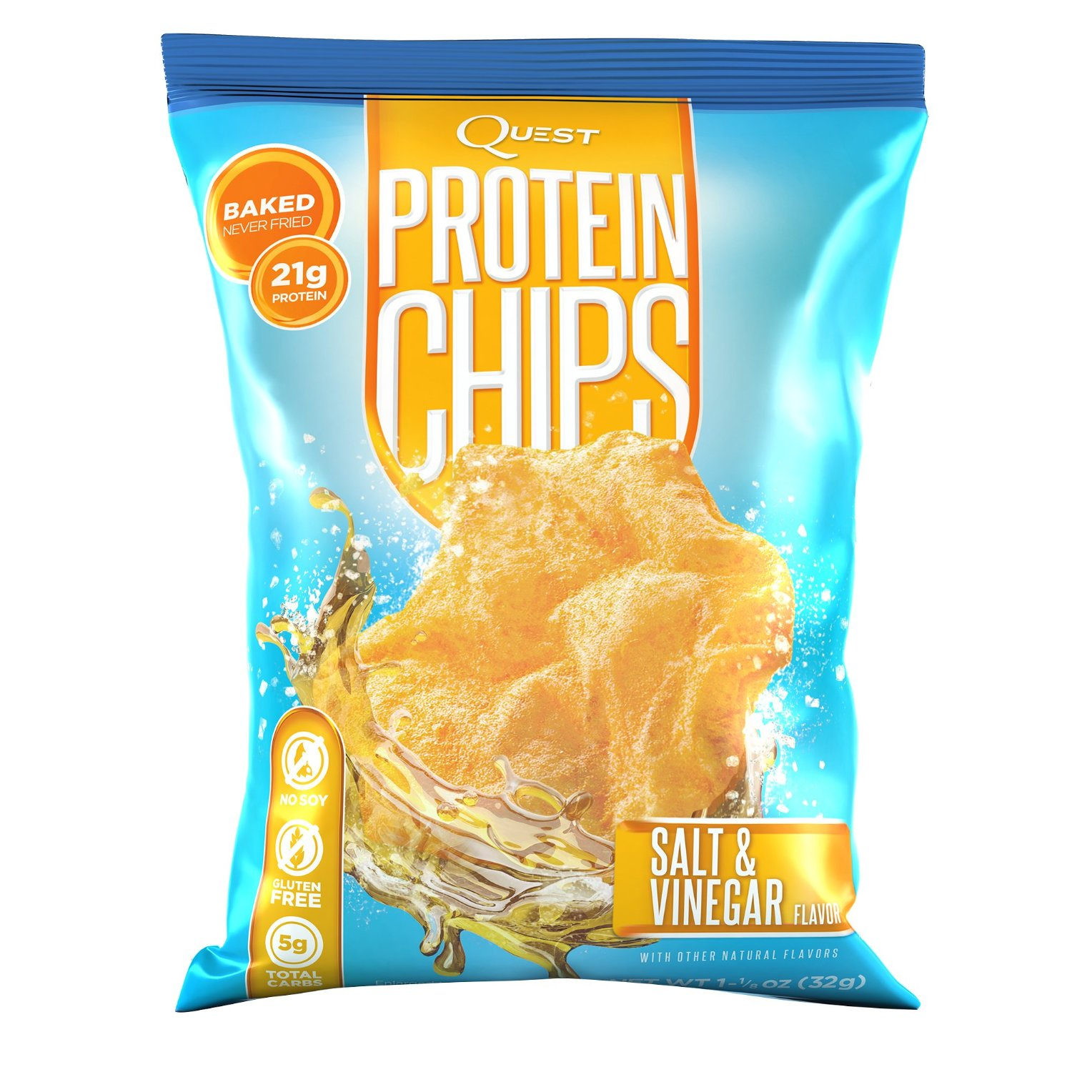 Quest Nutrition Protein Chips Salt & Vinegar - 16 - 1 1/8 oz Bags