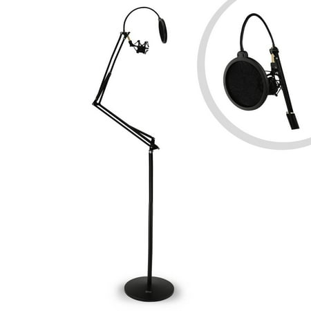 PYLE PMKSH28 - Microphone Boom Suspension Stand - Scissor Spring Arm Floor Mic Stand with Shock Mount & Pop Filter