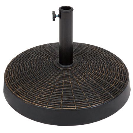 Best Choice Products 55lb Round Wicker Style Resin Patio Umbrella Base Stand w/ 1.75in Hole, Blackened Bronze Finish, Rust Resistance