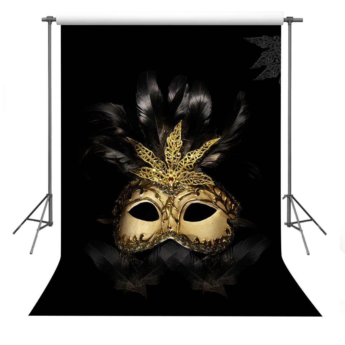 GreenDecor Polyster 5x7ft Golden Mask Backdrop Photography Props Dancing Party Background
