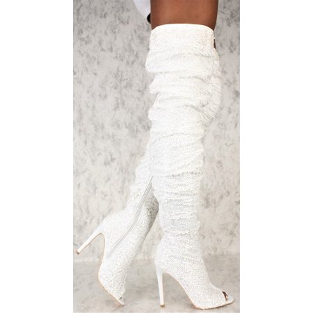 Dazzle Women Thigh High Over Knee Sequin Sparkle High Heel Open Toe Boots](Thigh High Boots Cheap Size 11)