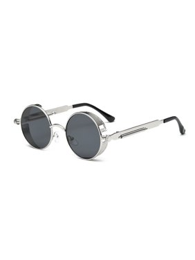 00d8b13fcf2 Round Flat Mirror Sunglasses Fshion Vintage Sunglasses Women Men Glasses ( Silver Franwork with Grey Lens