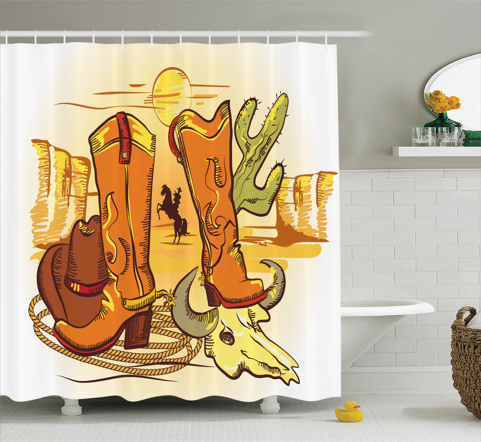Western Decor  Illustration Of Old Wild West Elements With Rope Shoes And Silhouette Of Cowboy Print, Bathroom Accessories, 69W X 84L Inches Extra Long, By Ambesonne