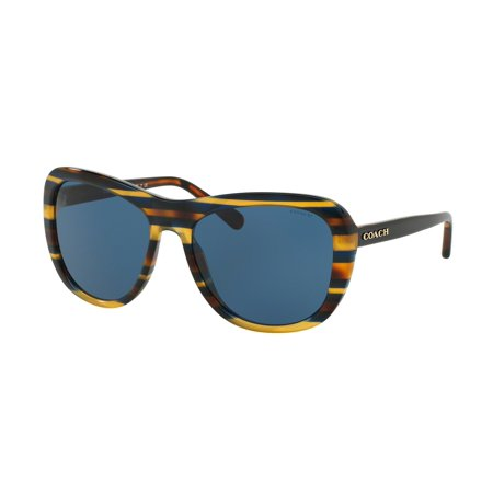 Coach 0HC8202 Full Rim Square Womens Sunglasses - Size 57 (Blue (Size Of Sunglasses For Size Of Face)