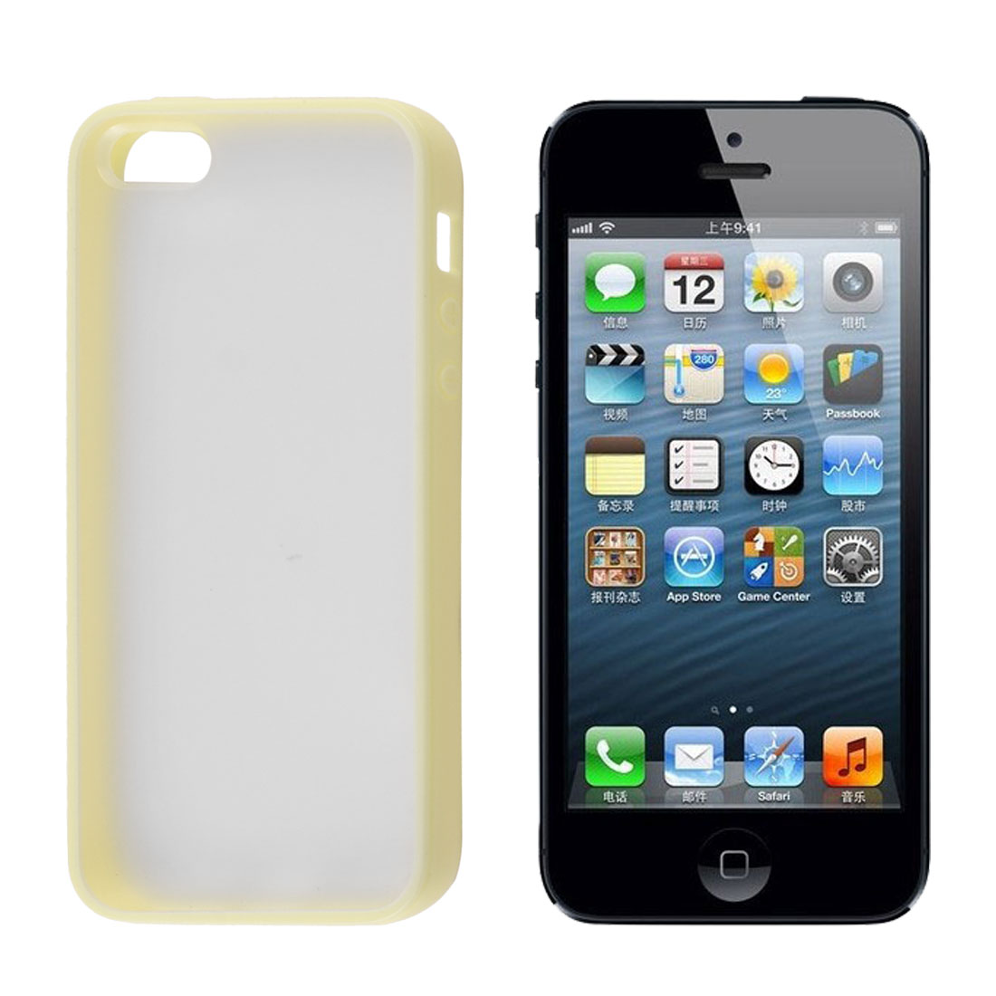 Smooth Surface Yellow TPU Soft Plastic Trim Case Protector for iPhone 5 5G - image 1 of 1