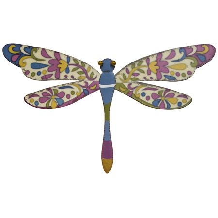 15 Inch Printed Metal Dragonfly Wall Plaque (Blue), Measures 15 x 8 Inches By 25 Home (Visconti Wall Street Green)