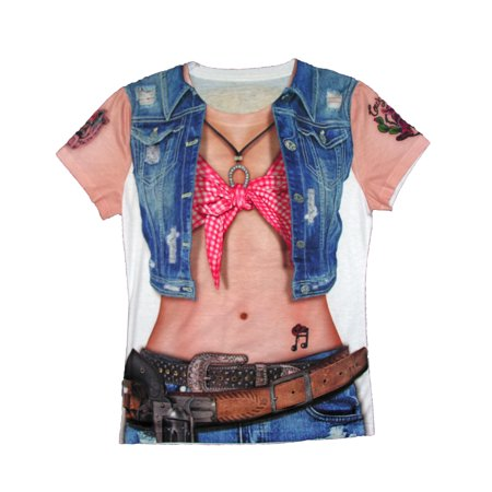 Cowgirl Printed Womens Adult Country Western Halloween Costume T-Shirt - Country Western Costumes