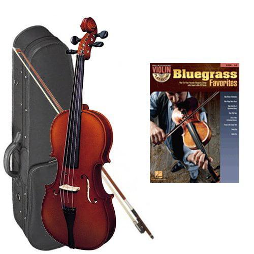 Strunal 220 Student Violin Bluegrass Favorites Play Along Pack - 1/2 Size European Violin w/Case & Play Along Book
