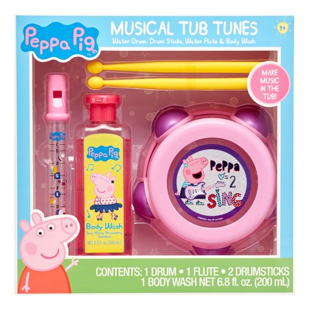 Peppa Pig 4-Piece Musical Tub Tunes Bath Set with Drum and Flute ()