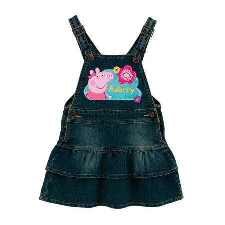Personalized Peppa Pig Pretty Flowers Baby Girls' Denim Dress