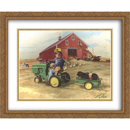Large Frame Tractor - Tractor Ride 2x Matted 32x26 Large Gold Ornate Framed Art Print by Donald Zolan