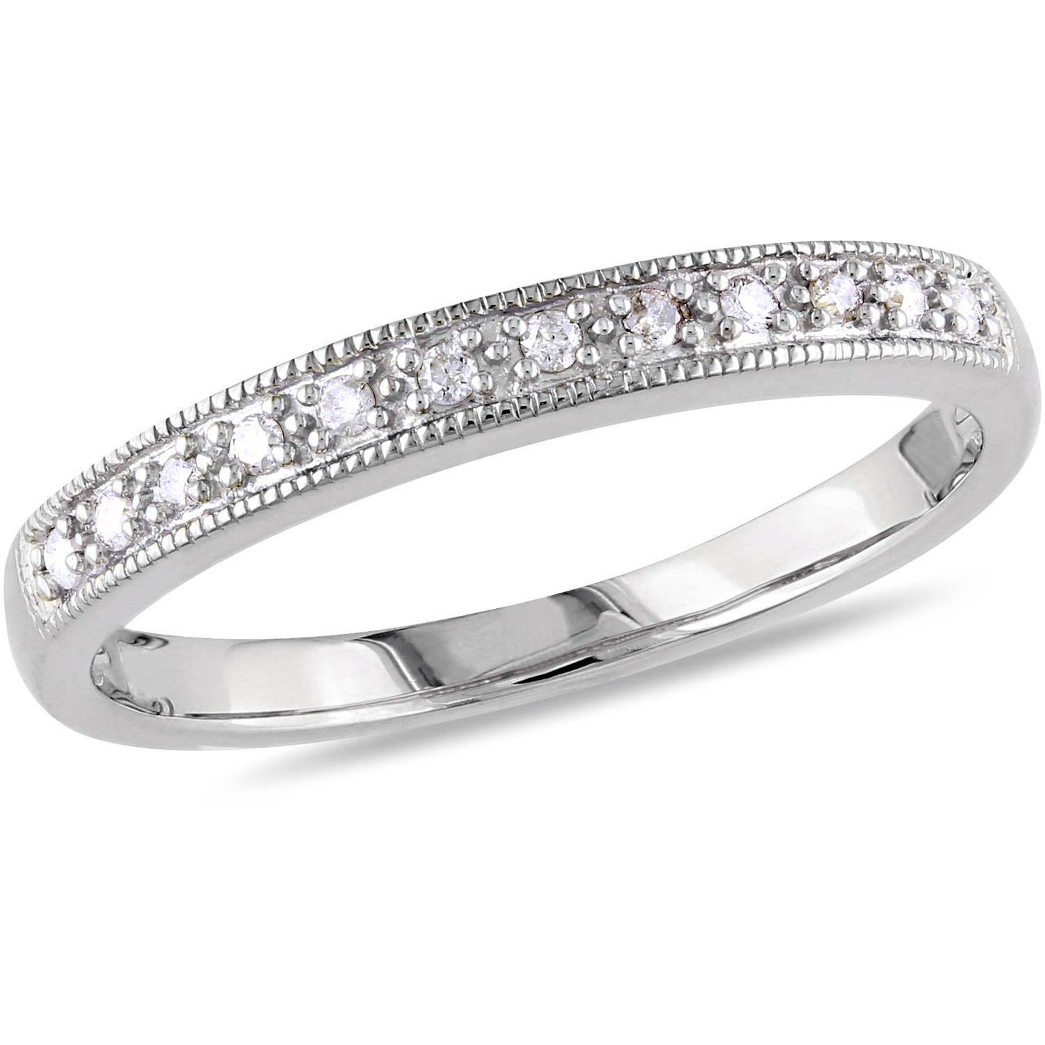 Miabella DiamondAccent 10kt White Gold Wedding Band Walmartcom