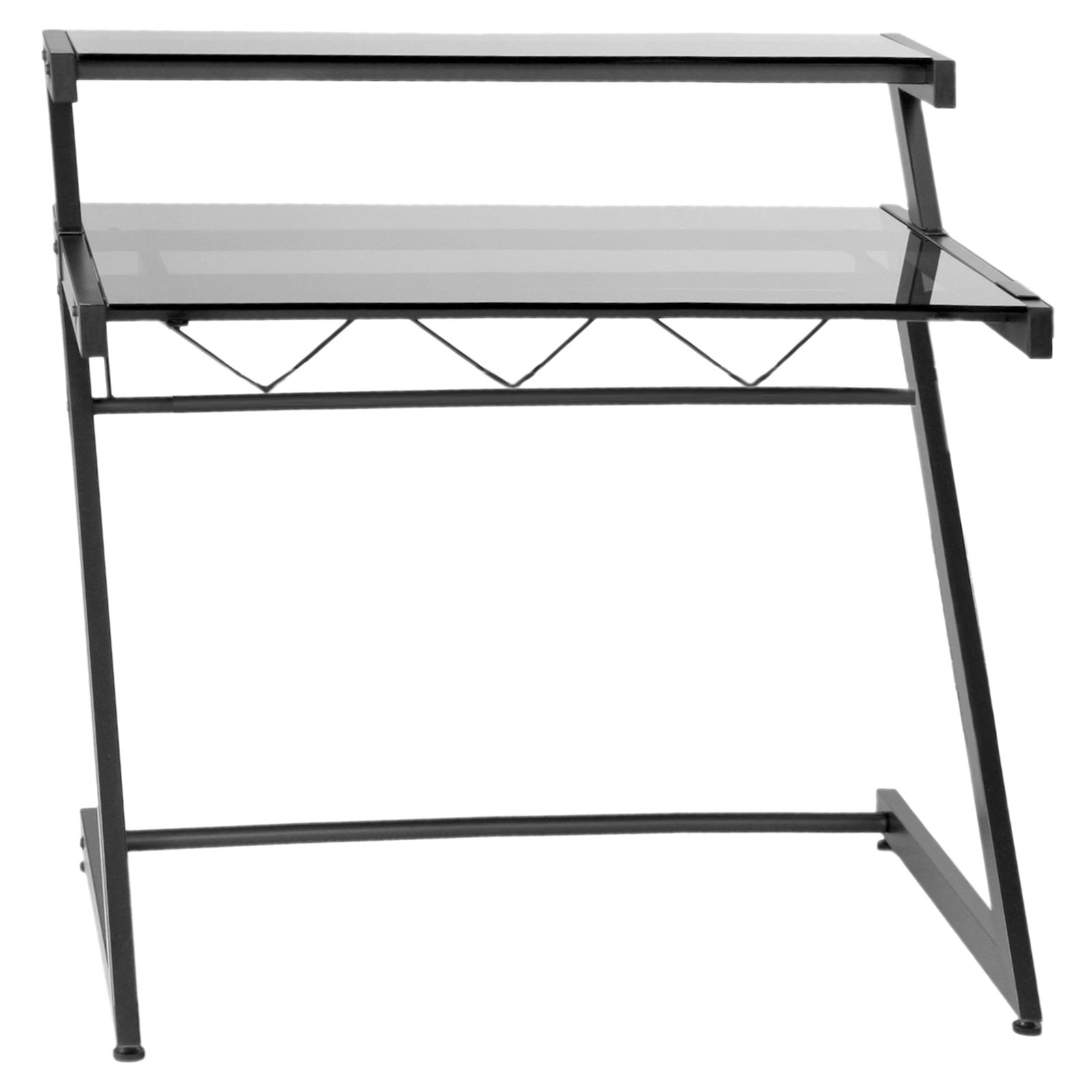 Euro Style Z Deluxe Medium Desk with Shelf - Graphite Black / Smoked Glass