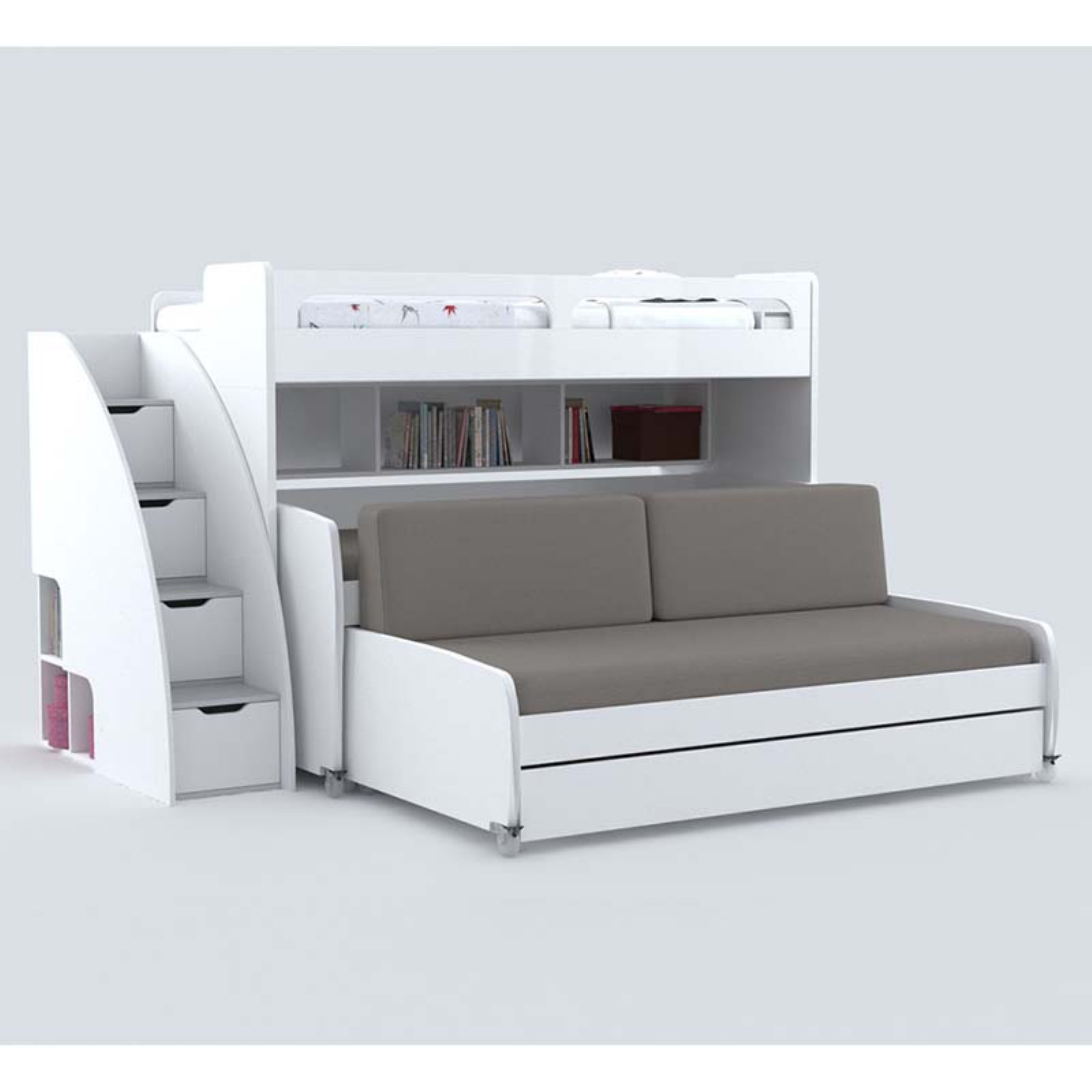 Multimo Bel Mondo Grande Storage Daybed with Loft Bed and Two Trundles