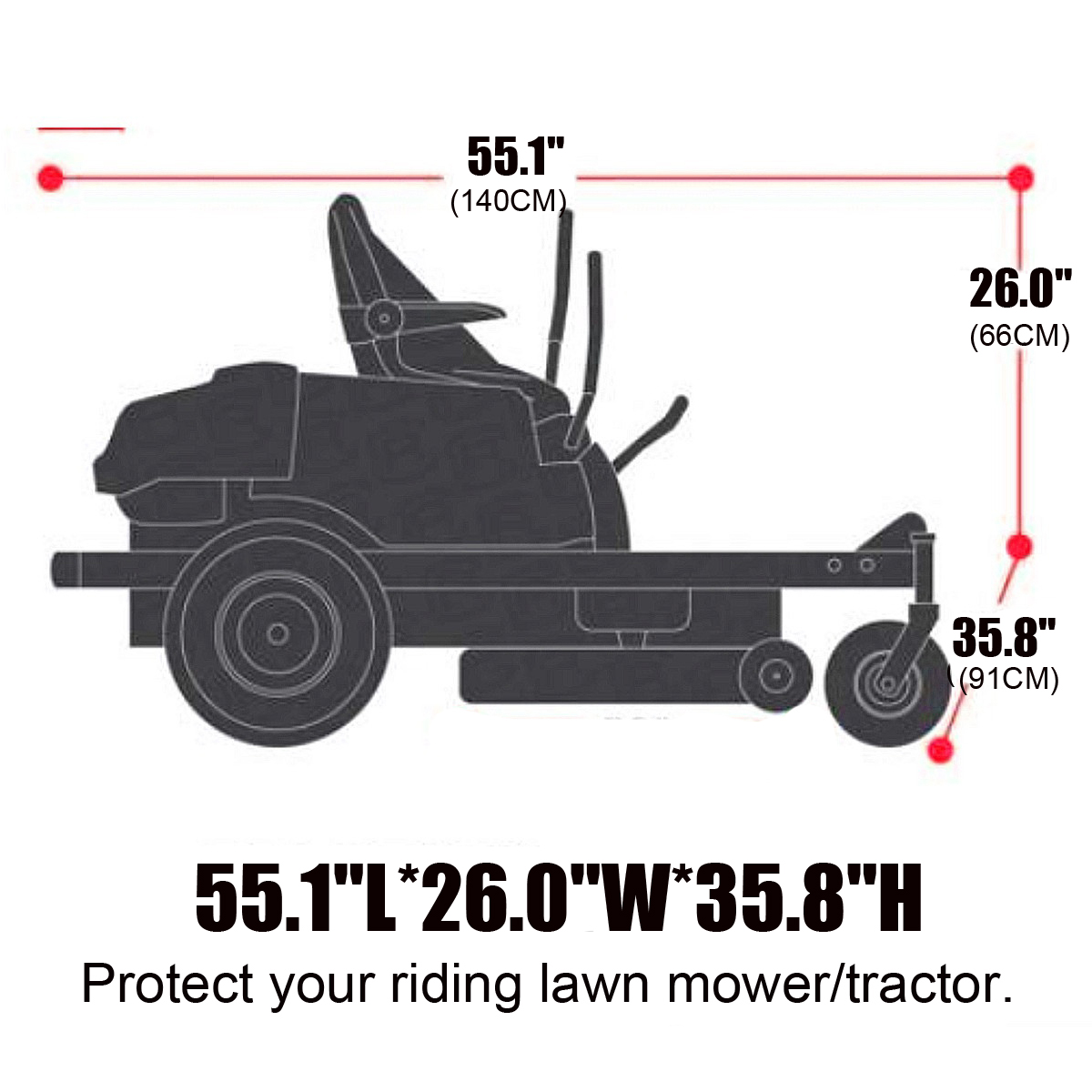 55.1x26.0x35.8 Waterproof Heavy Duty Universal Protection Lawn Tractor Cover Black 190D Polyester dDanke Riding Lawn Mower Cover