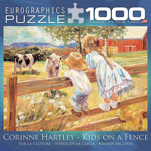 EuroGraphics Kids on a Fence by Corinne Hartley 1000-Piece Puzzle, Small Box