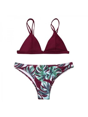 9532c33cd459ab Product Image Topumt Women Sexy Plant Pattern Print Lace-up Halter Strap  Split Swimsuit Bikini Set