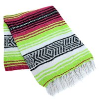 Classic Mexican Yoga Blanket by La Montana - Hot Pink/Apple Green/White