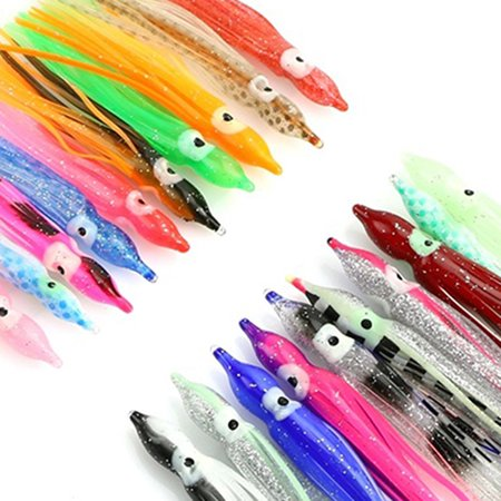 HiCoup 10Pcs Mixed Color Soft Luminous Octopus Squid Skirt