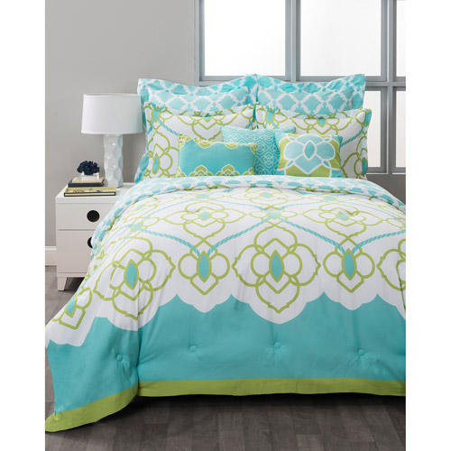 Style Nest Sahara Aqua  Bed-in-a-Bag 8-Piece Bedding Set