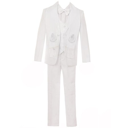 First Communion Suit (Rain Kids Boys White 6-pc Virgin Mary Embroidery First Communion Suit)