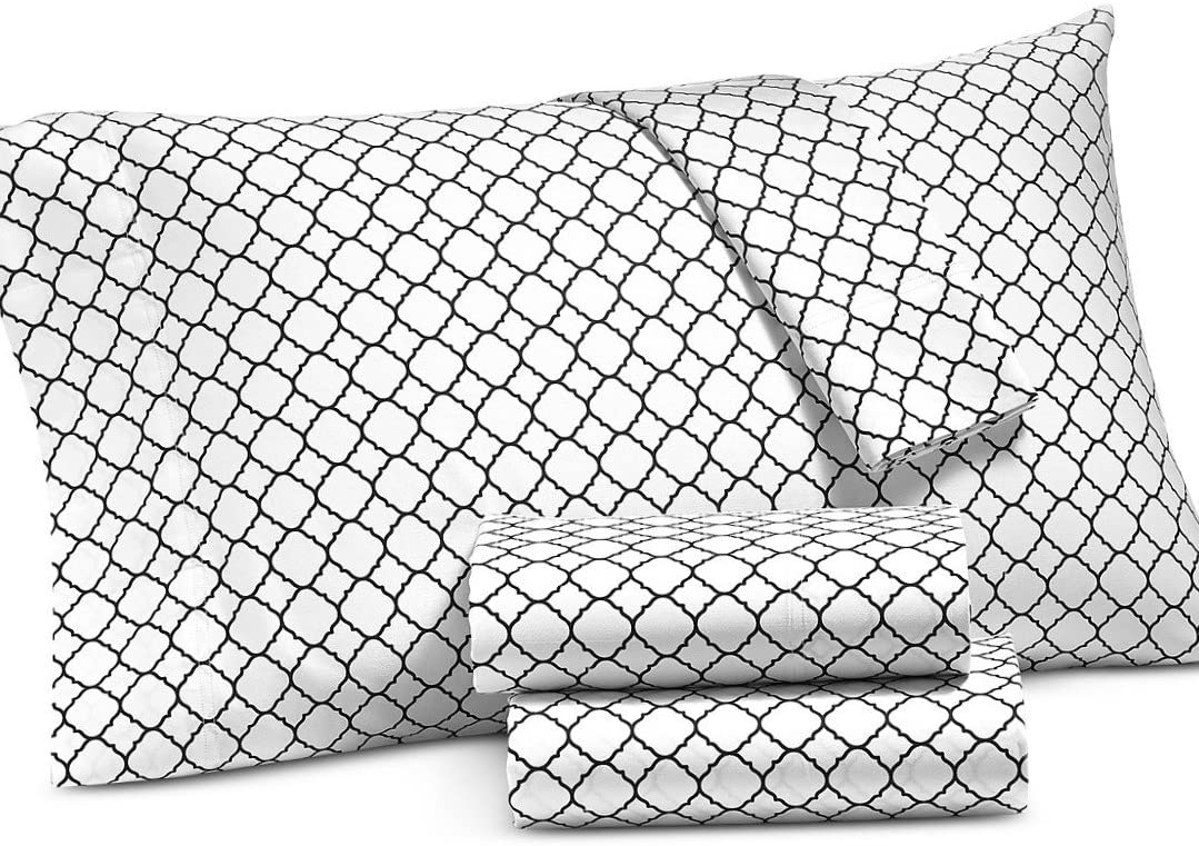 Charter Club Damask Designs Geo Printed Queen 4 Piece Bedding Sheet Set Size 500 Thread Count Black Walmart Com