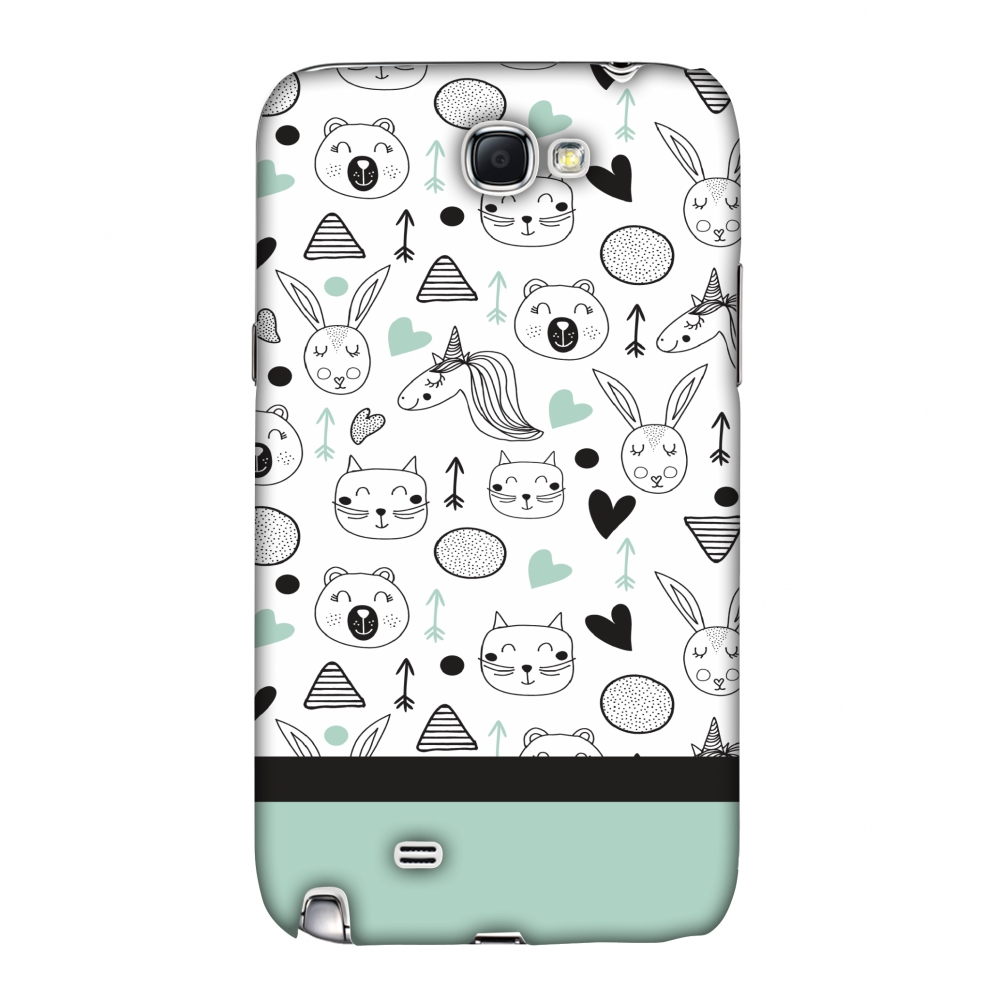 Samsung Galaxy Note II Case, Premium Handcrafted Designer Hard Shell Snap On Case Shockproof Printed Back Cover with Screen Cleaning Kit for Samsung Galaxy Note II, Slim, Protective - Unicorns