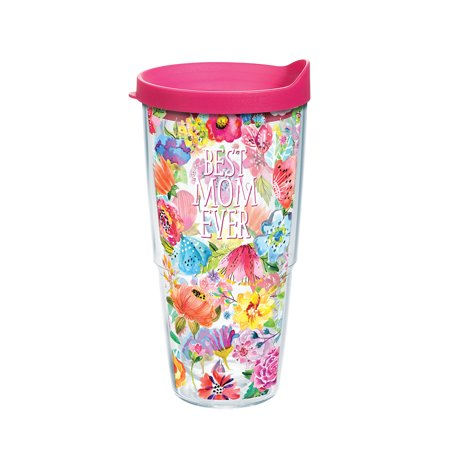 Best Mom Ever Floral 24 oz Tumbler with lid ()