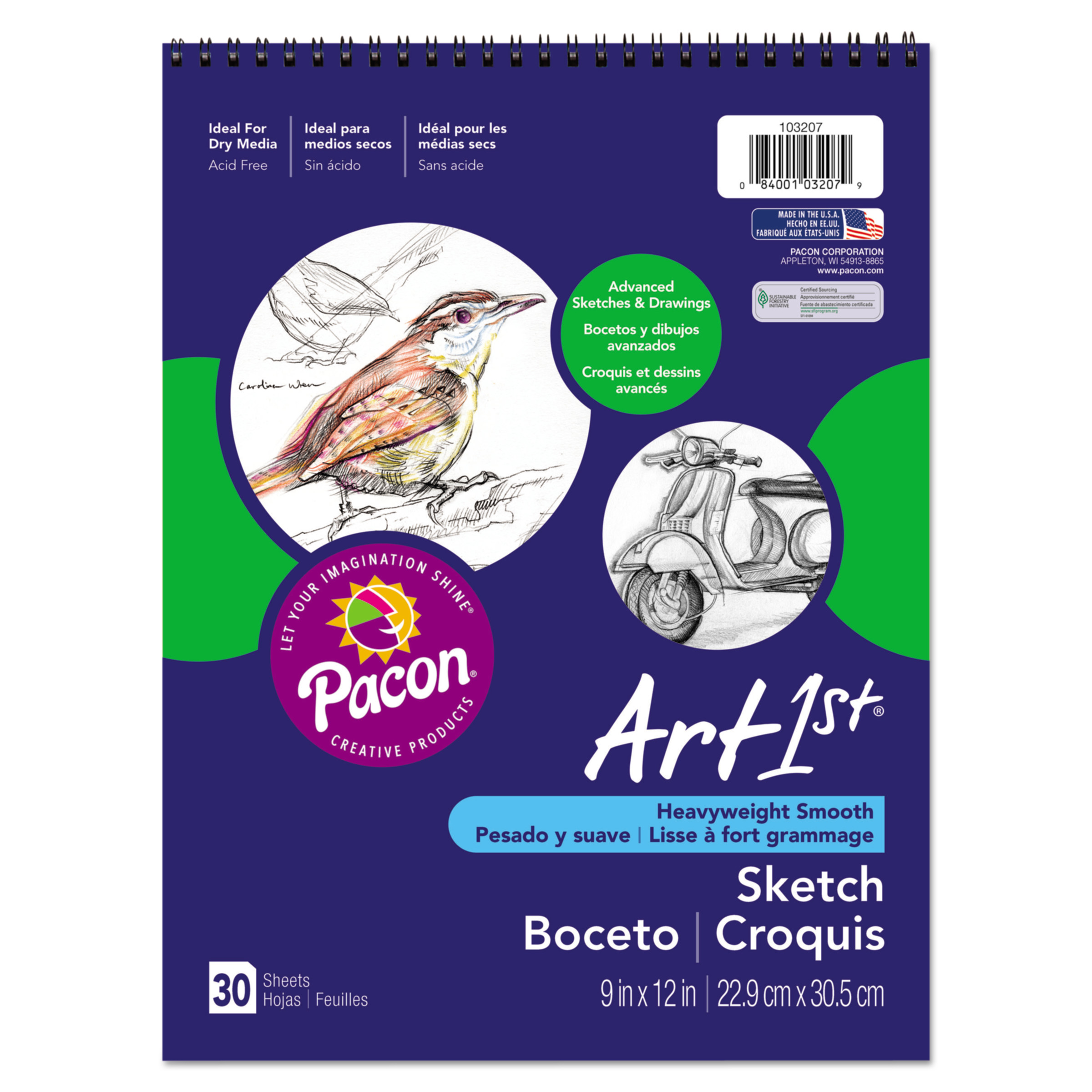 "Art1st Sketch Book, Heavyweight Paper Notebook, 9"" x 12"", 30 Sheets"