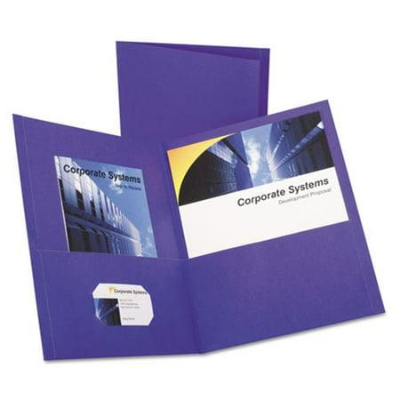 Oxford 57514 Embossed Leather Grain Paper Twin-Pocket Portfolio Folder - Purple