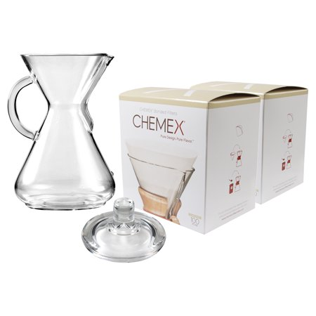 Chemex Glass 50 Ounce Coffee Maker with Cover and 200 Count Bonded Circle Coffee
