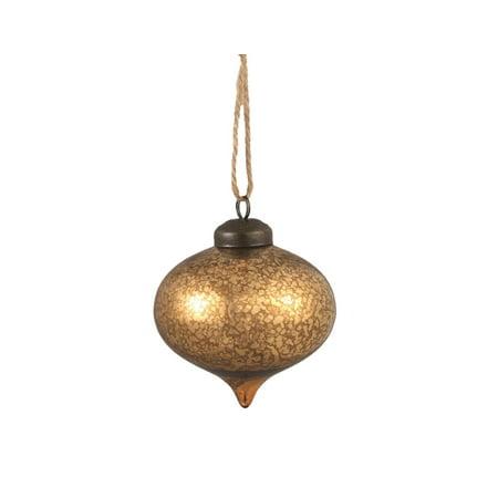 "3.25"" Luxury Lodge Antique Gold Mercury Glass Onion Finial Christmas Ornament"