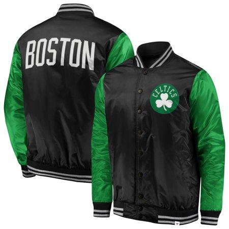 Boston Celtics Fanatics Branded Iconic Tackle Twill Satin Jacket - Black/Kelly Green Black Tackle Twill Hoody Sweatshirt